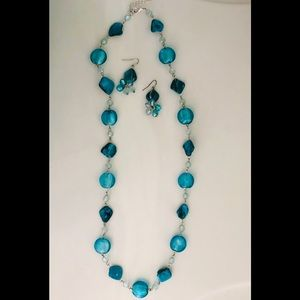 """Turquoise necklace/earring set 16"""" long"""